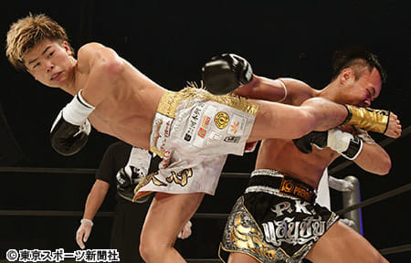 """【KNOCK OUT】""""神童""""那須川が衝撃的V ムエタイ現役王者を143秒殺"""
